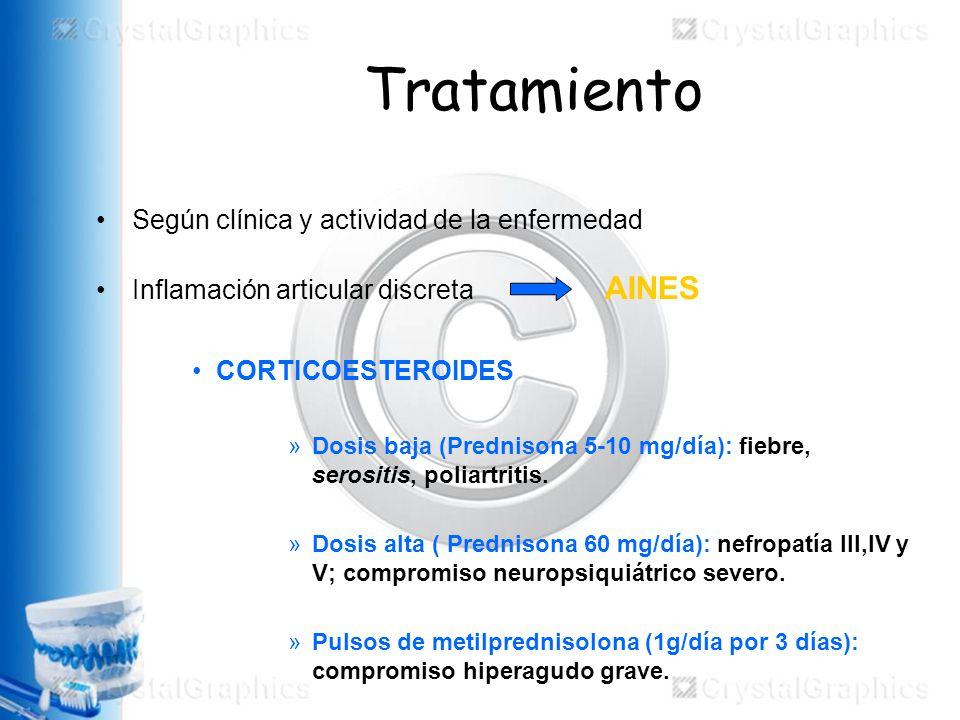 Tratamiento Según clínica y actividad de la enfermedad Inflamación articular discreta AINES CORTICOESTEROIDES »Dosis baja (Prednisona 5-10 mg/día): fiebre, serositis, poliartritis.