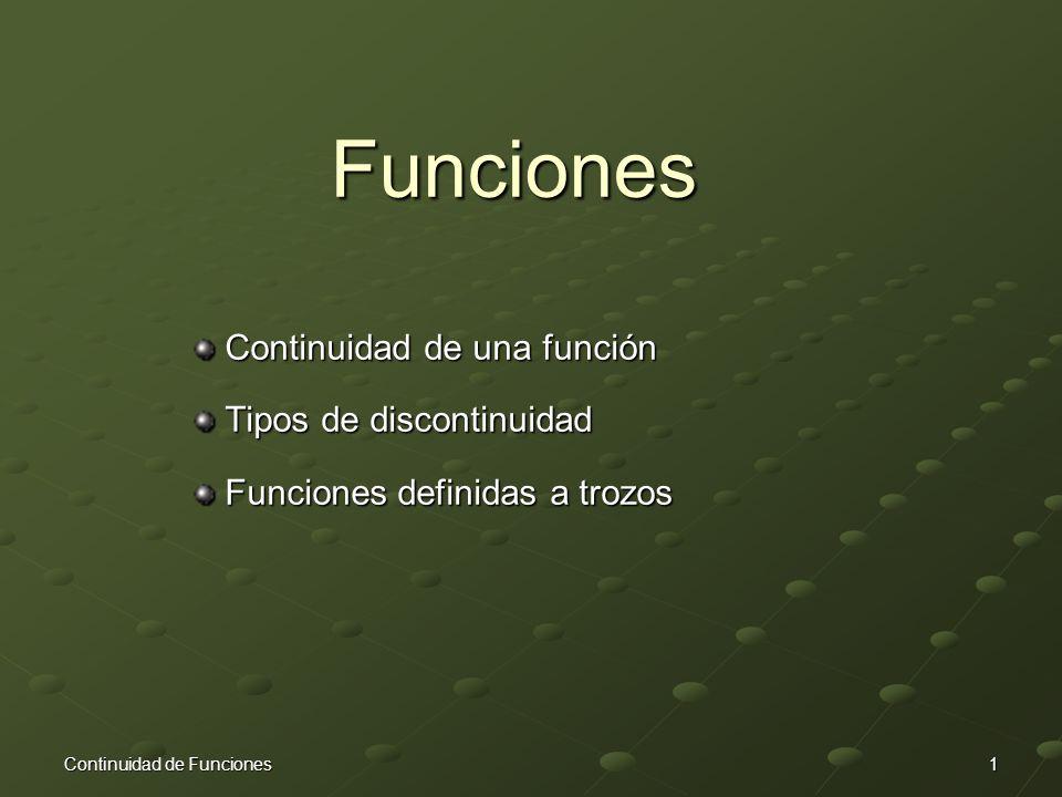 Funciones Continuidad de una función Continuidad de una función Tipos de discontinuidad Tipos de discontinuidad Funciones definidas a trozos Funciones definidas a trozos Continuidad de Funciones1