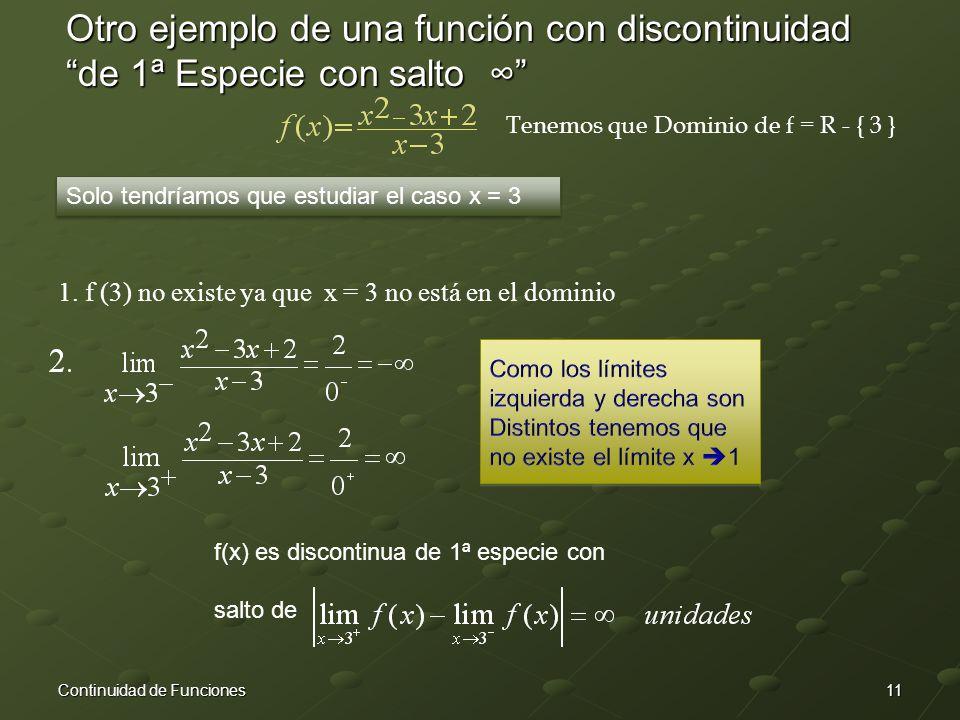 11Continuidad de Funciones Otro ejemplo de una función con discontinuidad de 1ª Especie con salto ∞ Tenemos que Dominio de f = R - { 3 } Solo tendríamos que estudiar el caso x = 3 1.