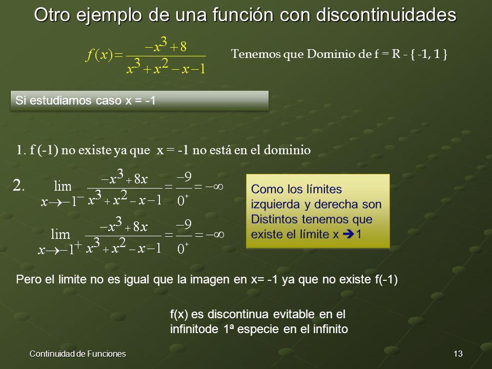 13Continuidad de Funciones Otro ejemplo de una función con discontinuidades Tenemos que Dominio de f = R - { -1, 1 } Si estudiamos caso x = -1 1.