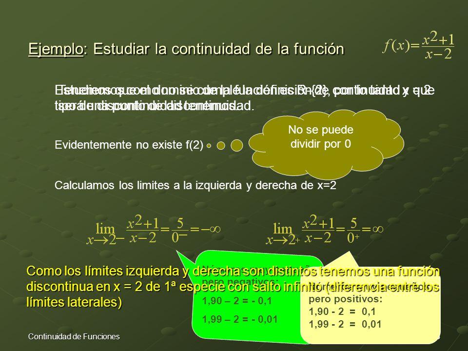 Ejemplo: Ejemplo: Estudiar la continuidad de la función 3Continuidad de Funciones Tenemos que el dominio de la función es R-{2}, por lo tanto x = 2 será una punto de discontinuidad.