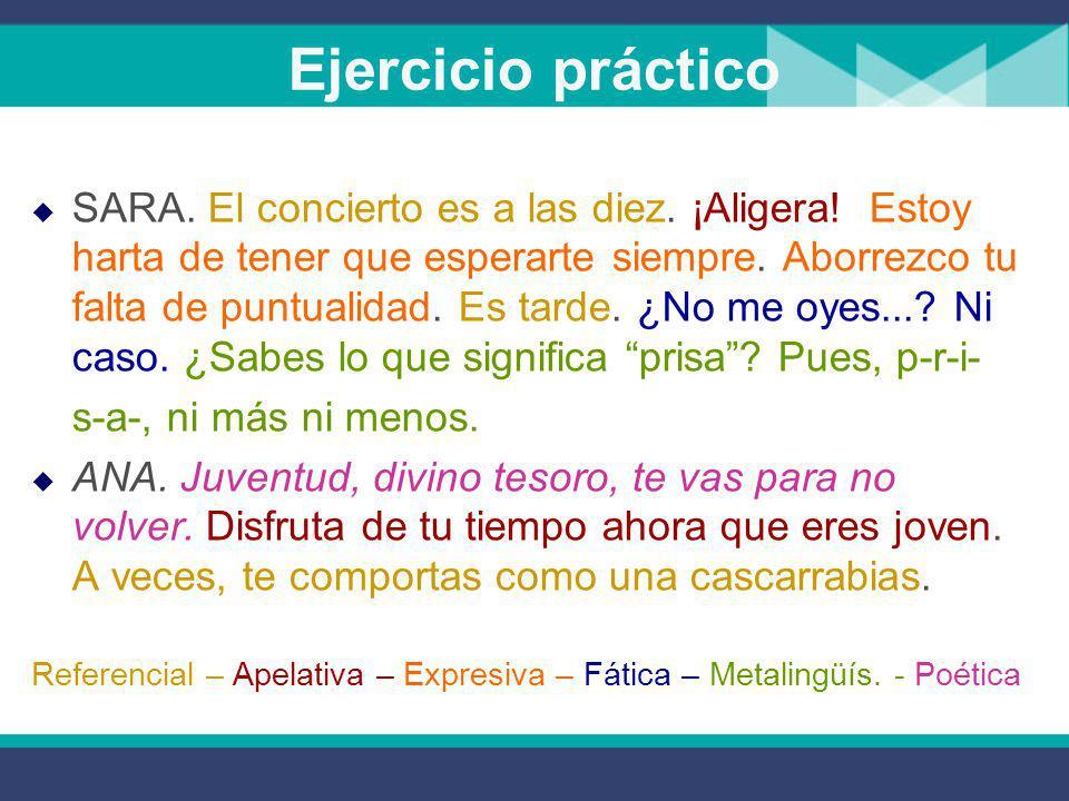 Ejercicio práctico Indica las funciones que aparecen en el siguiente texto  SARA.