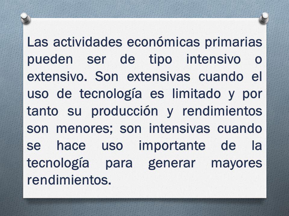 Las actividades económicas primarias pueden ser de tipo intensivo o extensivo.