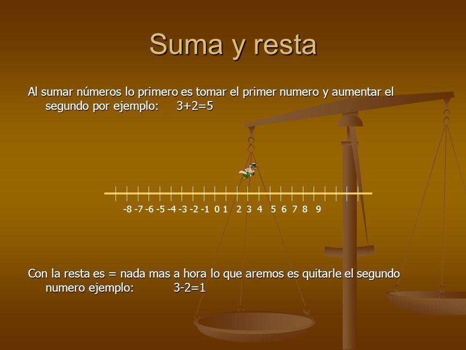 Suma y resta Al sumar números lo primero es tomar el primer numero y aumentar el segundo por ejemplo: 3+2=5 Con la resta es = nada mas a hora lo que aremos es quitarle el segundo numero ejemplo: 3-2=1 1 2 3 4 5 6 7 8 9 -8 -7 -6 -5 -4 -3 -2 -1 0