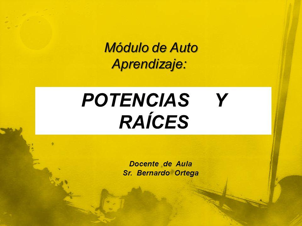 Módulo de Auto Aprendizaje: Módulo de Auto Aprendizaje: POTENCIAS Y RAÍCES Docente de Aula Sr. Bernardo Ortega