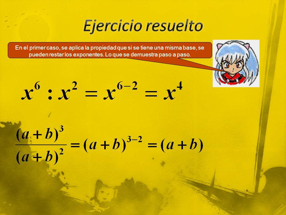 En el primer caso, se aplica la propiedad que si se tiene una misma base, se pueden restar los exponentes.
