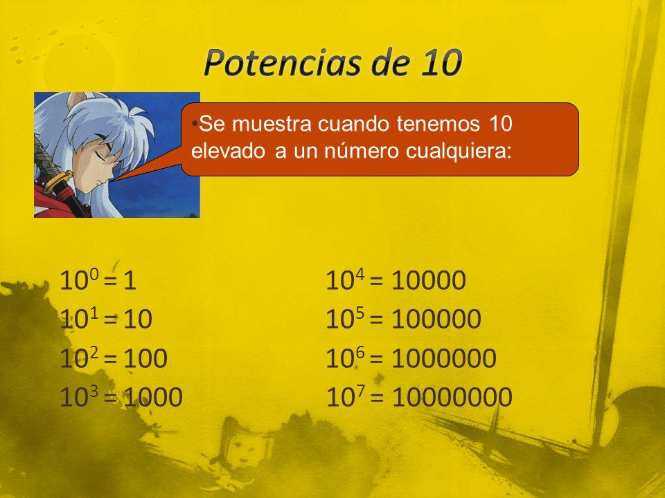 10 0 = 110 4 = 10000 10 1 = 1010 5 = 100000 10 2 = 10010 6 = 1000000 10 3 = 1000 10 7 = 10000000 Se muestra cuando tenemos 10 elevado a un número cual