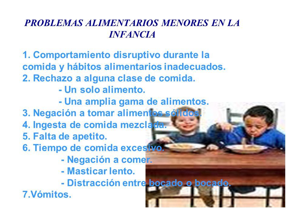 PROBLEMAS ALIMENTARIOS MENORES EN LA INFANCIA 1. Comportamiento disruptivo durante la comida y hábitos alimentarios inadecuados. 2. Rechazo a alguna c