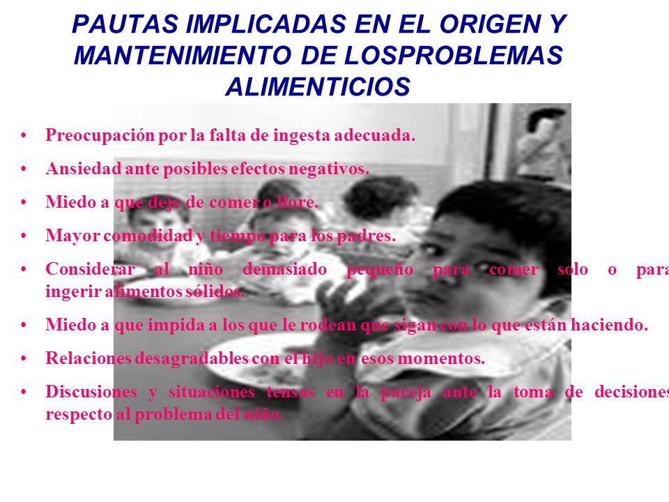 PAUTAS IMPLICADAS EN EL ORIGEN Y MANTENIMIENTO DE LOSPROBLEMAS ALIMENTICIOS Preocupación por la falta de ingesta adecuada. Ansiedad ante posibles efec