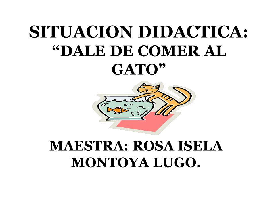 """SITUACION DIDACTICA: """"DALE DE COMER AL GATO"""" MAESTRA: ROSA ISELA MONTOYA LUGO."""