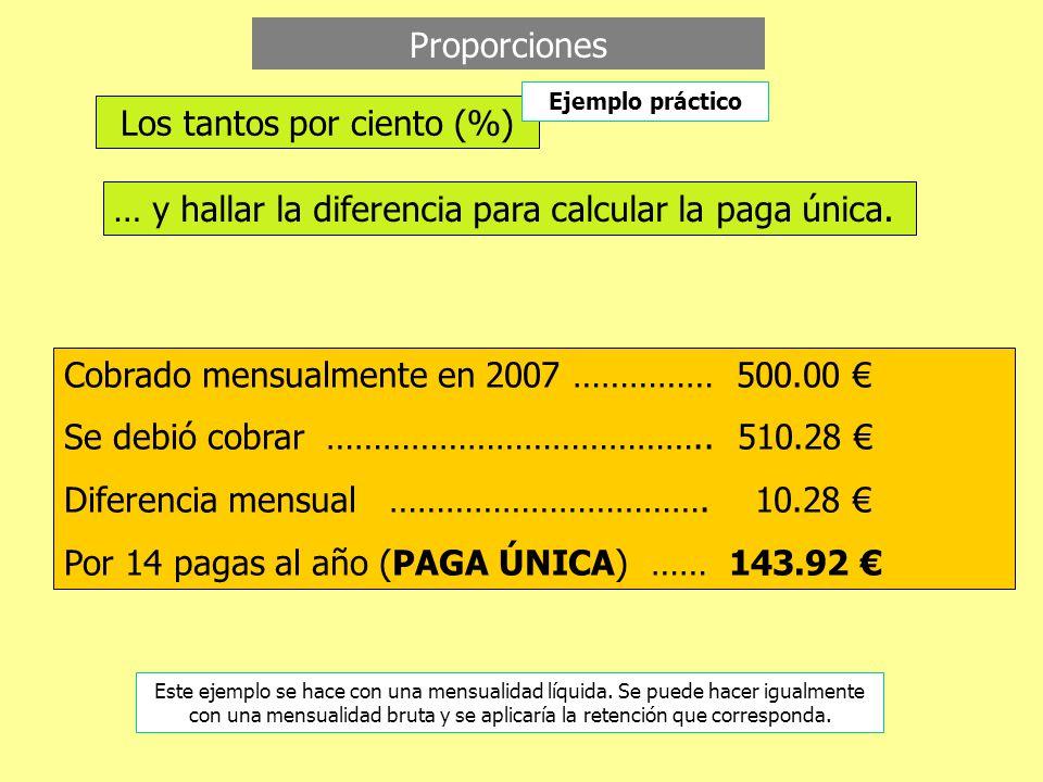 Proporciones … y hallar la diferencia para calcular la paga única.