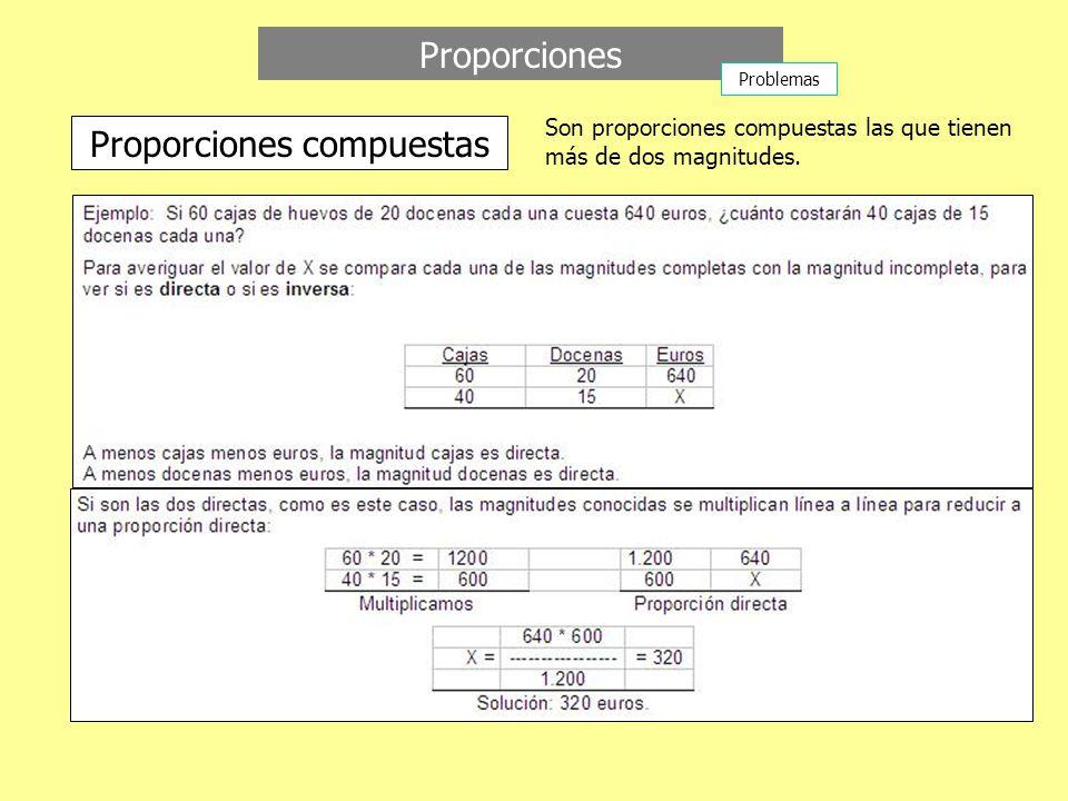 Proporciones Proporciones compuestas Son proporciones compuestas las que tienen más de dos magnitudes.