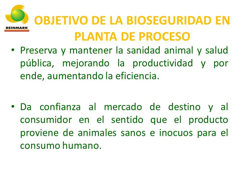 OBJETIVO DE LA BIOSEGURIDAD EN PLANTA DE PROCESO Preserva y mantener la sanidad animal y salud pública, mejorando la productividad y por ende, aumentando la eficiencia.
