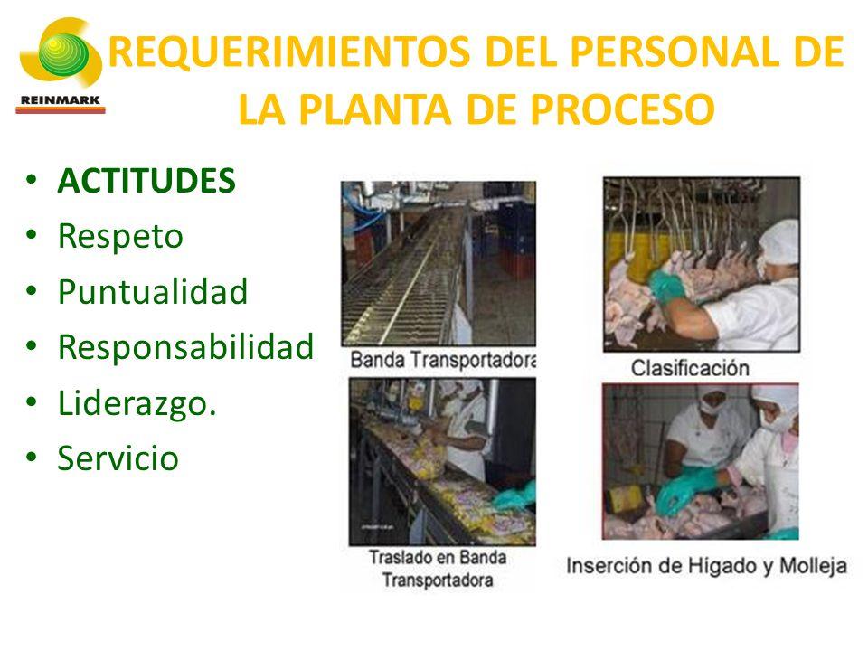 REQUERIMIENTOS DEL PERSONAL DE LA PLANTA DE PROCESO ACTITUDES Respeto Puntualidad Responsabilidad Liderazgo.