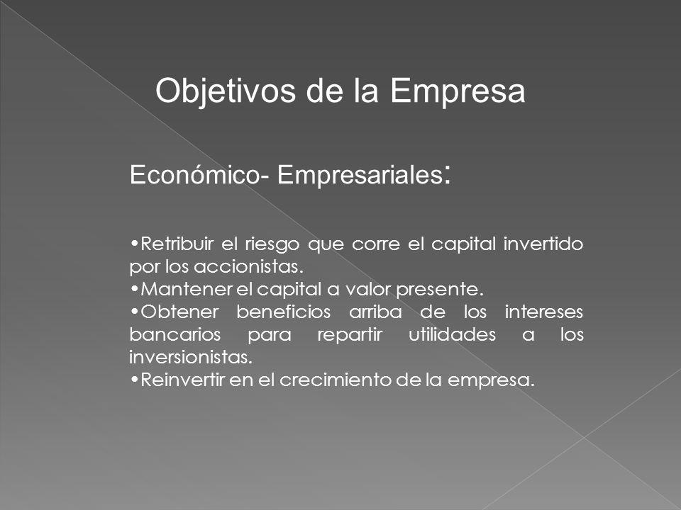 Objetivos de la Empresa Económico- Empresariales : Retribuir el riesgo que corre el capital invertido por los accionistas.