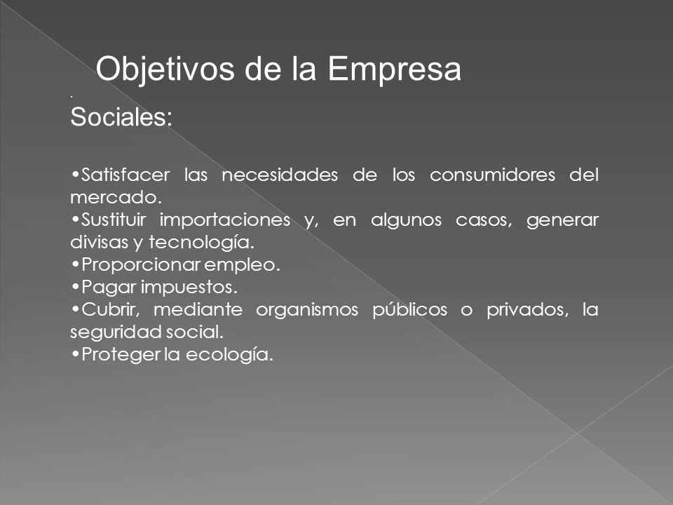 Objetivos de la Empresa.Sociales: Satisfacer las necesidades de los consumidores del mercado.