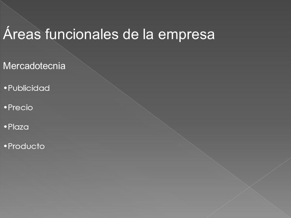 Áreas funcionales de la empresa Mercadotecnia Publicidad Precio Plaza Producto