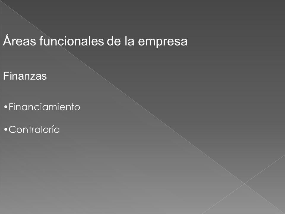 Áreas funcionales de la empresa Finanzas Financiamiento Contraloría
