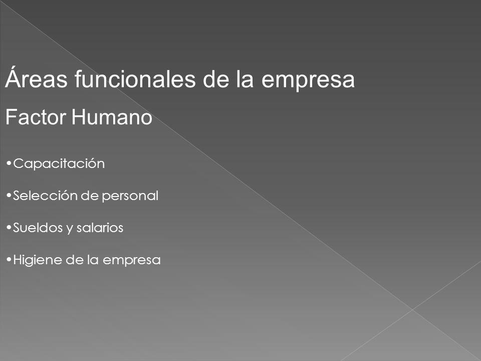 Áreas funcionales de la empresa Factor Humano Capacitación Selección de personal Sueldos y salarios Higiene de la empresa