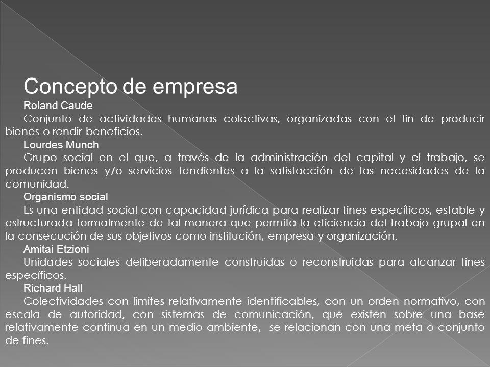 Concepto de empresa Roland Caude Conjunto de actividades humanas colectivas, organizadas con el fin de producir bienes o rendir beneficios.