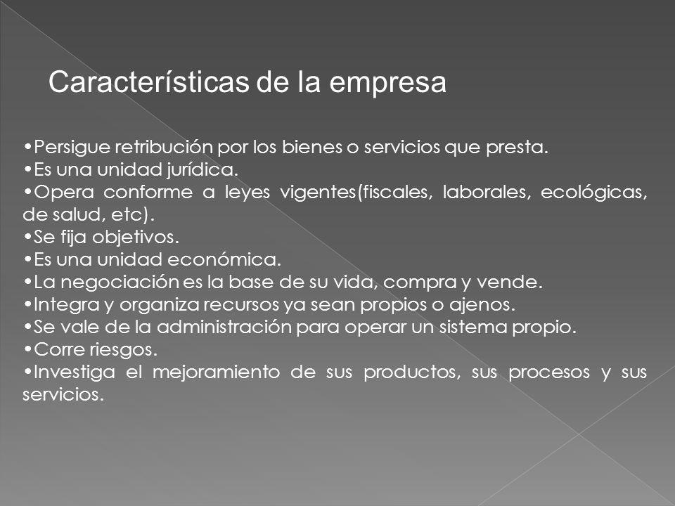 Características de la empresa Persigue retribución por los bienes o servicios que presta.