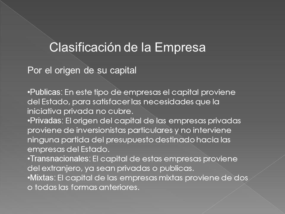 Por el origen de su capital Publicas: En este tipo de empresas el capital proviene del Estado, para satisfacer las necesidades que la iniciativa privada no cubre.