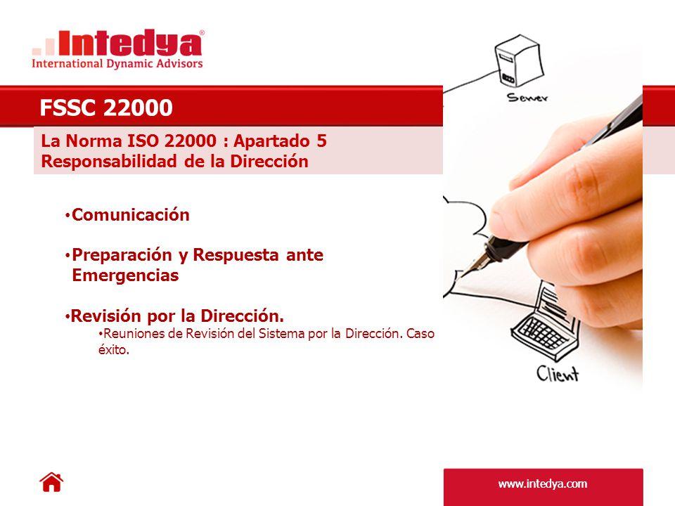 www.intedya.com La Norma ISO 22000 : Apartado 6 Gestión de los Recursos FSSC 22000 Provisión de Recursos.