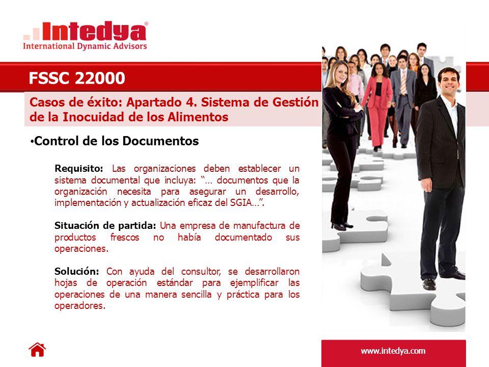 www.intedya.com Casos de éxito: Apartado 5 Responsabilidad de la Dirección FSSC 22000 Revisión por la Dirección Requisito: La dirección de la empresa debe asegurarse que las responsabilidades y autoridades están definidas y comunicadas dentro de la organización.