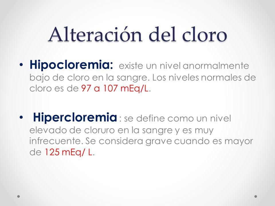 Alteración del cloro Hipocloremia: existe un nivel anormalmente bajo de cloro en la sangre.