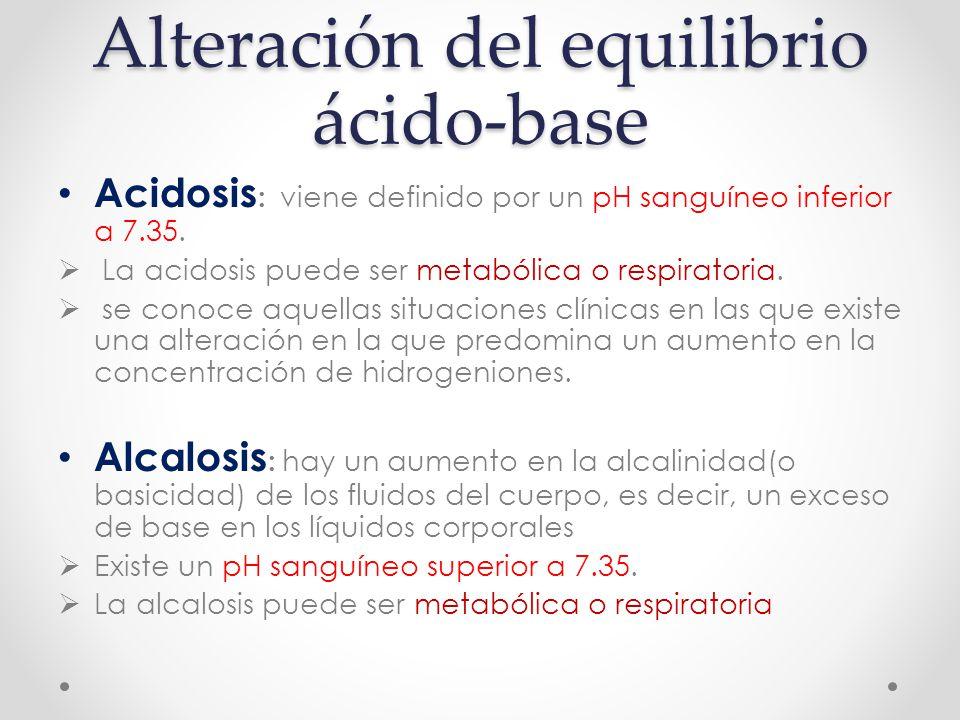 Alteración del equilibrio ácido-base Acidosis : viene definido por un pH sanguíneo inferior a 7.35.