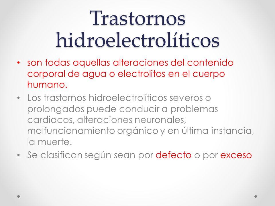 Trastornos hidroelectrolíticos son todas aquellas alteraciones del contenido corporal de agua o electrolitos en el cuerpo humano.