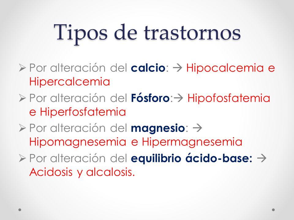 Tipos de trastornos  Por alteración del calcio :  Hipocalcemia e Hipercalcemia  Por alteración del Fósforo :  Hipofosfatemia e Hiperfosfatemia  Por alteración del magnesio :  Hipomagnesemia e Hipermagnesemia  Por alteración del equilibrio ácido-base:  Acidosis y alcalosis.