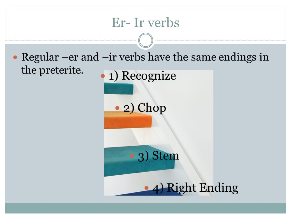 Er- Ir verbs Regular –er and –ir verbs have the same endings in the preterite.