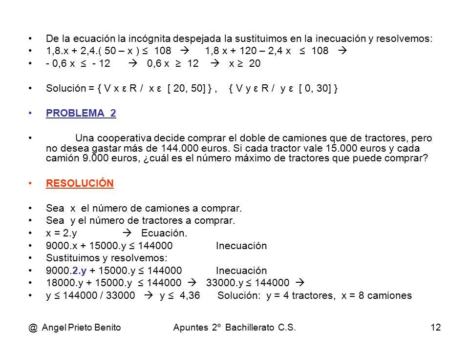 @ Angel Prieto BenitoApuntes 2º Bachillerato C.S.12 De la ecuación la incógnita despejada la sustituimos en la inecuación y resolvemos: 1,8.x + 2,4.( 50 – x ) ≤ 108  1,8 x + 120 – 2,4 x ≤ 108  - 0,6 x ≤ - 12  0,6 x ≥ 12  x ≥ 20 Solución = { V x ε R / x ε [ 20, 50] }, { V y ε R / y ε [ 0, 30] } PROBLEMA_2 Una cooperativa decide comprar el doble de camiones que de tractores, pero no desea gastar más de 144.000 euros.