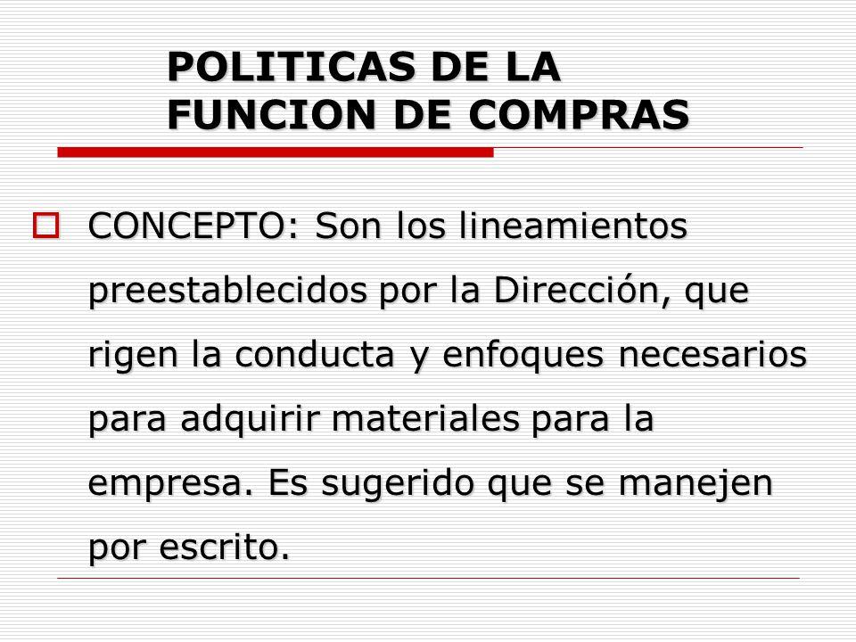 POLITICAS DE LA FUNCION DE COMPRAS  CLASIFICACION: POLITICAS INTERNAS.