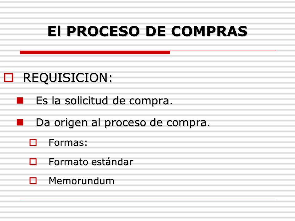 El PROCESO DE COMPRAS  REQUISICION: Elementos: Elementos:  Principales: Descripción analítica de la compra.