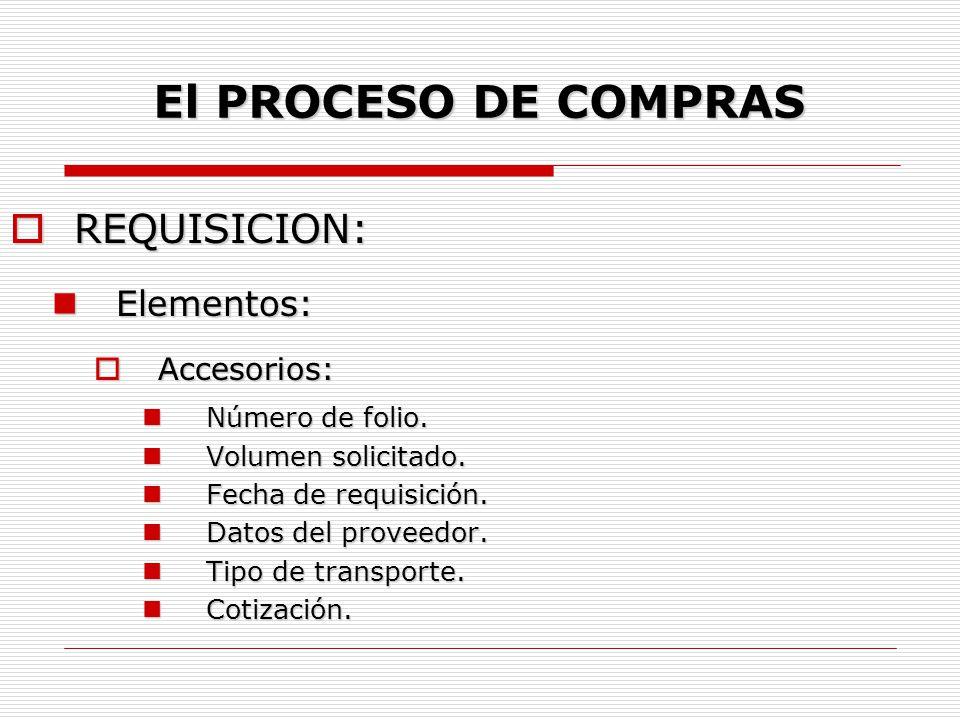 El PROCESO DE COMPRAS  REQUISICION: Fines: Fines: Conocimiento de una necesidad.
