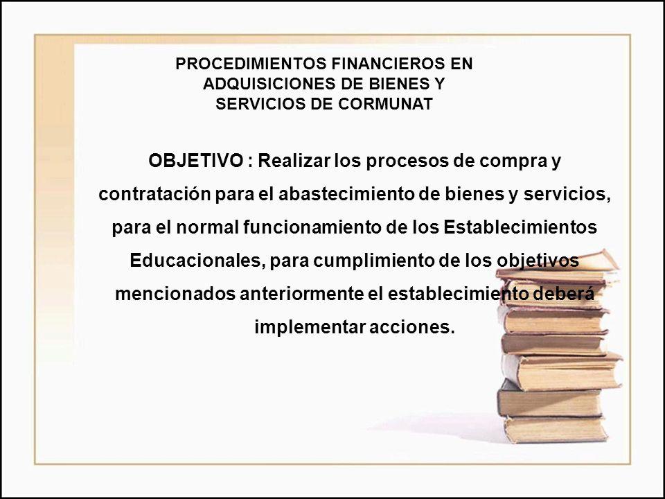 PROCEDIMIENTOS FINANCIEROS EN ADQUISICIONES DE BIENES Y SERVICIOS DE CORMUNAT OBJETIVO : Realizar los procesos de compra y contratación para el abaste
