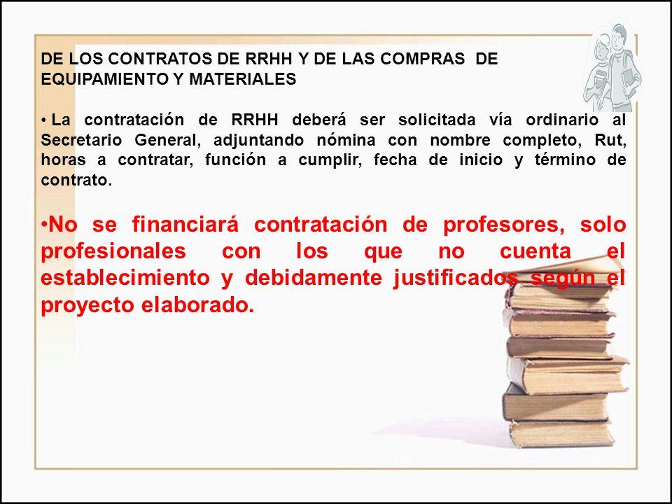 DE LOS CONTRATOS DE RRHH Y DE LAS COMPRAS DE EQUIPAMIENTO Y MATERIALES La contratación de RRHH deberá ser solicitada vía ordinario al Secretario Gener