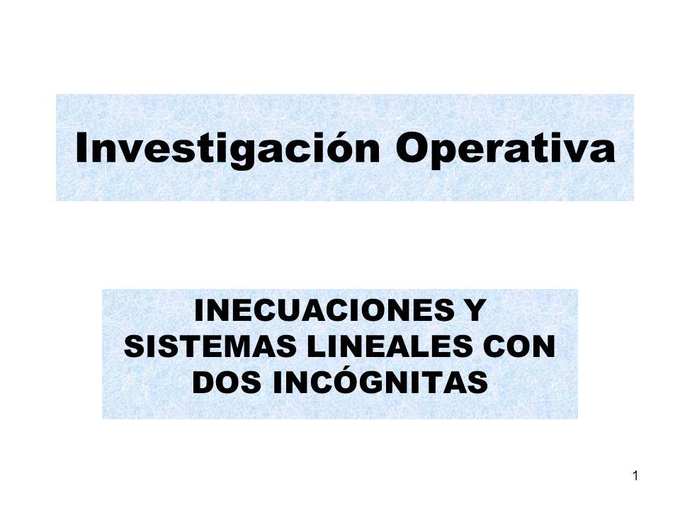 1 Investigación Operativa INECUACIONES Y SISTEMAS LINEALES CON DOS INCÓGNITAS