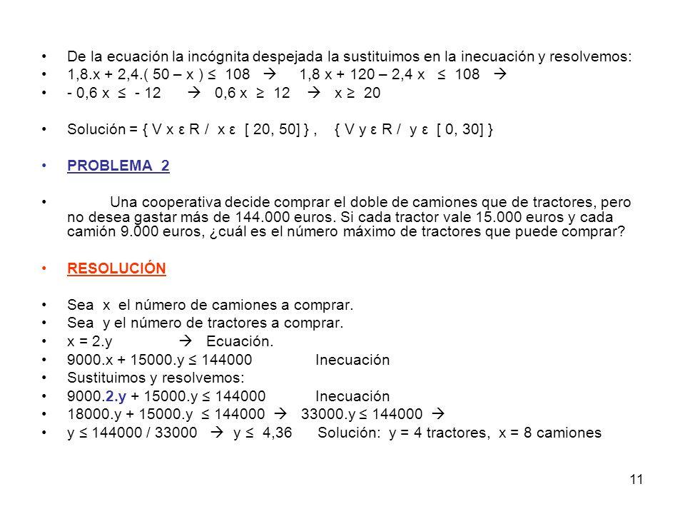 11 De la ecuación la incógnita despejada la sustituimos en la inecuación y resolvemos: 1,8.x + 2,4.( 50 – x ) ≤ 108  1,8 x + 120 – 2,4 x ≤ 108  - 0,6 x ≤ - 12  0,6 x ≥ 12  x ≥ 20 Solución = { V x ε R / x ε [ 20, 50] }, { V y ε R / y ε [ 0, 30] } PROBLEMA_2 Una cooperativa decide comprar el doble de camiones que de tractores, pero no desea gastar más de 144.000 euros.