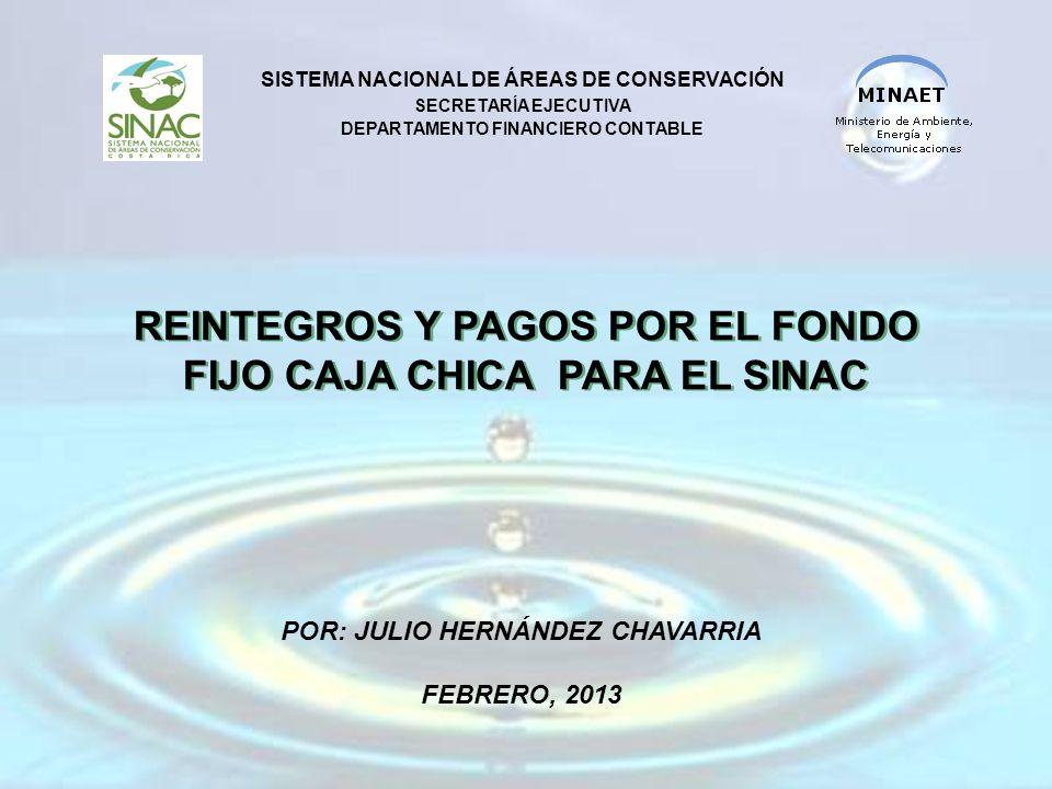 REINTEGROS Y PAGOS POR EL FONDO FIJO CAJA CHICA PARA EL SINAC SISTEMA NACIONAL DE ÁREAS DE CONSERVACIÓN SECRETARÍA EJECUTIVA DEPARTAMENTO FINANCIERO CONTABLE POR: JULIO HERNÁNDEZ CHAVARRIA FEBRERO, 2013