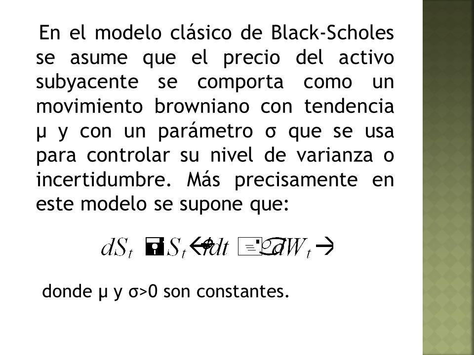 En el modelo clásico de Black-Scholes se asume que el precio del activo subyacente se comporta como un movimiento browniano con tendencia μ y con un parámetro σ que se usa para controlar su nivel de varianza o incertidumbre.