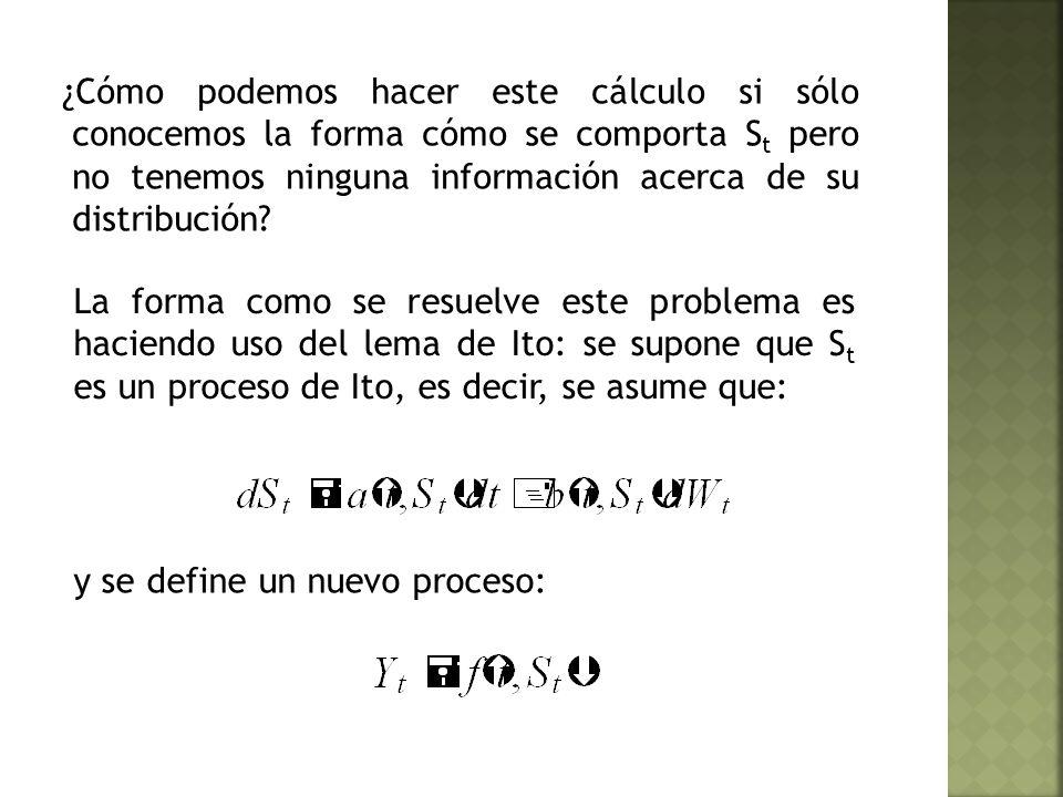 ¿Cómo podemos hacer este cálculo si sólo conocemos la forma cómo se comporta S t pero no tenemos ninguna información acerca de su distribución.