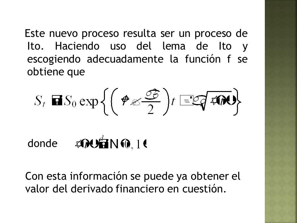 Este nuevo proceso resulta ser un proceso de Ito.