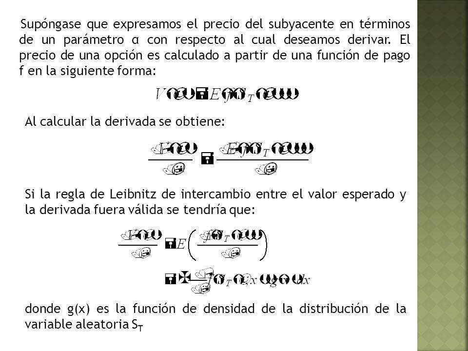 Supóngase que expresamos el precio del subyacente en términos de un parámetro α con respecto al cual deseamos derivar.