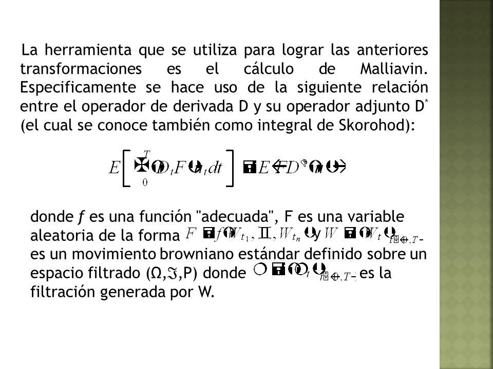 La herramienta que se utiliza para lograr las anteriores transformaciones es el cálculo de Malliavin.