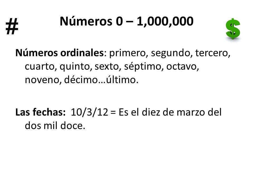 Números 0 – 1,000,000 Números ordinales: primero, segundo, tercero, cuarto, quinto, sexto, séptimo, octavo, noveno, décimo…último.