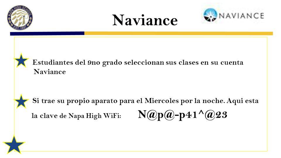 Naviance Estudiantes del 9no grado seleccionan sus clases en su cuenta Naviance Si trae su propio aparato para el Miercoles por la noche.