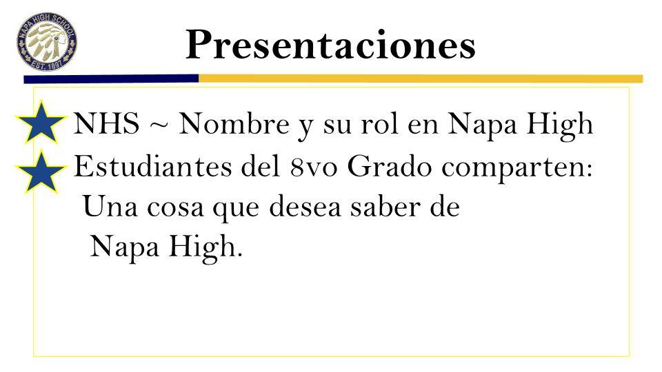Presentaciones NHS ~ Nombre y su rol en Napa High Estudiantes del 8vo Grado comparten: Una cosa que desea saber de Napa High.